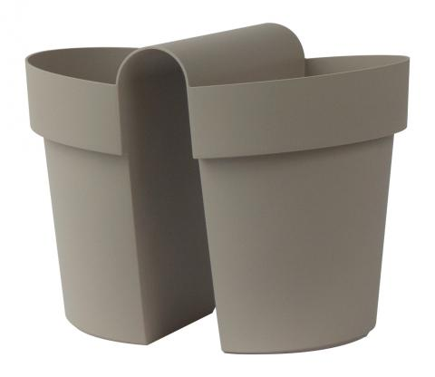 be-up pot with water reserve taupe