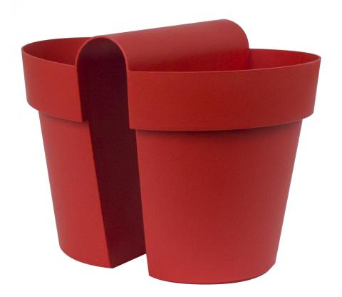 be-up pot with water reserve enamel red